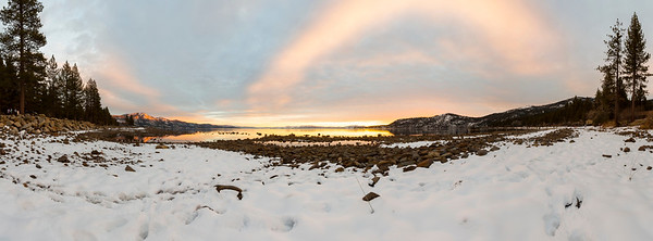 Special Abstract Process. Panorama. Sunset. Crystal Bay in Lake Tahoe. Incline Village, NV, USA