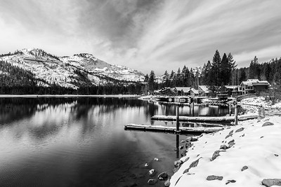 Donner Lake. Abandoned Historical Central Pacific Railroad Tunnels on the mountain. Park on side of Donner Pass Road - Truckee, CA, USA