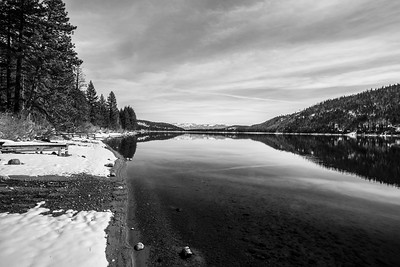 Donner Lake. Pier on side of Donner Pass Road - Truckee, CA, USA
