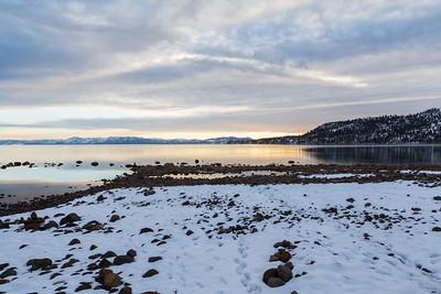 Sunset. Crystal Bay in Lake Tahoe. Incline Village, NV, USA