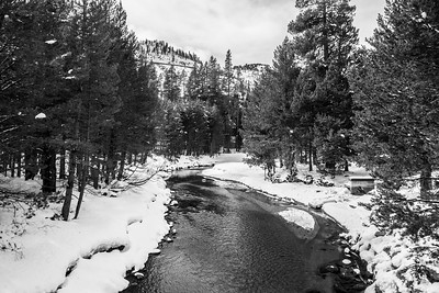 Donner Creek. Abandoned Historical Central Pacific Railroad Tunnels on the mountain. South Shore Drive - Truckee, CA, USA