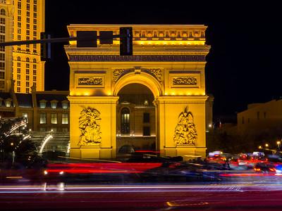 Arch of Triumph Replica at Paris Las Vegas. Shot near Bellagio. South Las Vegas Blvd. Las Vegas, NV, USA