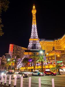 Eiffel Tower Replica at Paris Las Vegas. Shot near Bellagio. South Las Vegas Blvd. Las Vegas, NV, USA