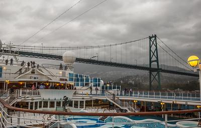 Grand Princess Going Under Lions Gate Bridge
