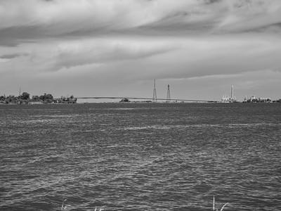 Antioch Bridge & Sacramento-San Joaquin River Delta. Rio Vista, CA (left) & Antioch, CA (right). Antioch City Marina. Antioch, CA, USA