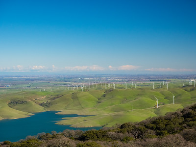 Tracy & Los Vaqueros Reservoir (bottom left). Whipsnake Loop Trail. Los Vaqueros Watershed - Contra Costa County, CA, USA