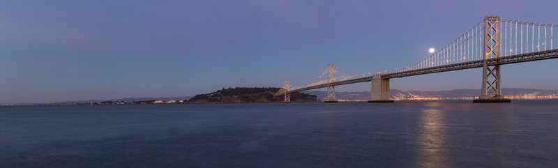 Panorama. Moon Rise. Bay Bridge and Treasure Island. Pier 14 - San Francisco, CA, USA
