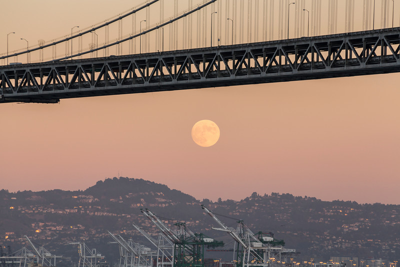 Moon Rise and Sunset. Bay Bridge. Pier 14 - San Francisco, CA, USA