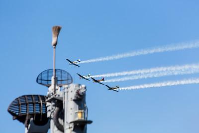 Blue Angels Practice Flight (10-9-2015) over the USS Pampanito. Fisherman's Wharf - San Francisco, CA, USA