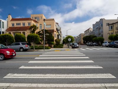 Intersection of Divisadero Street and Marina Blvd. San Francisco Bay Trail. San Francisco, CA, USA