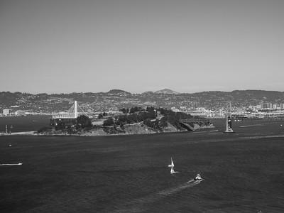 Bay Bridge & Yerba Buena Island   On top of Coit Tower. San Francisco, CA, USA