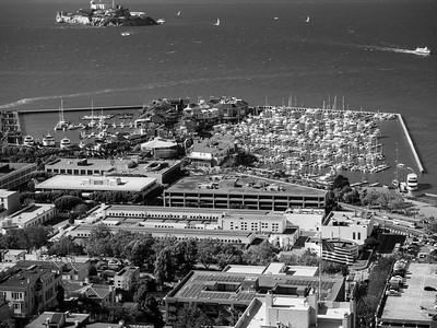 Pier 39 & Alcatraz Island (top left)  On top of Coit Tower. San Francisco, CA, USA