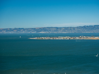 Treasure Island (foreground)  On top of Coit Tower. San Francisco, CA, USA