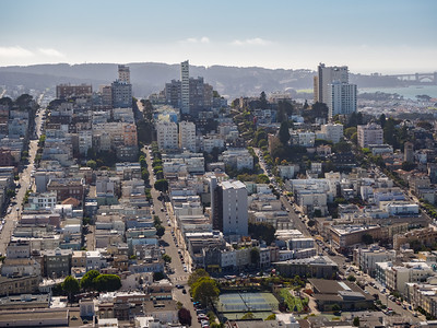 Filbert Street (#1 street from left), Greenwich Street (#2 street from left), Lombard Street (#3 street from left), Chestnut Street (#4 street from left), Presidio (in the distance on the right)  On top of Coit Tower. San Francisco, CA, USA