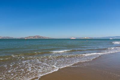 Alcatraz Island & Scenery. Crissy Field East Beach - San Francisco, CA, USA