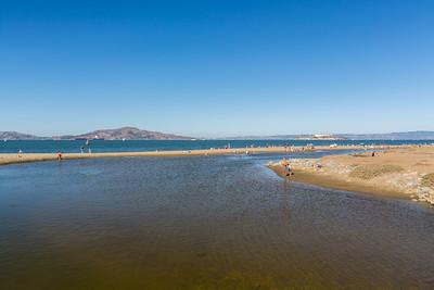 Crissy Field Marsh & Beach. On the right is Alcatraz Island. Crissy Field East Beach - San Francisco, CA, USA