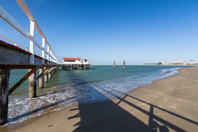 Pier. Crissy Field Wildlife Protection Area. San Francisco, CA, USA  Also in the photo is Alcatraz Island (near center) and Bay Bridge (right).
