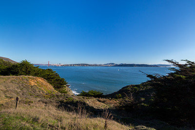 Golden Gate Bridge & Downtown San Francisco (left), Baker Beach & Sutro Tower (center), and Ocean Beach (right). Near Bonita Lighthouse Parking. Marin Headlands. Golden Gate National Recreation Area, CA, USA