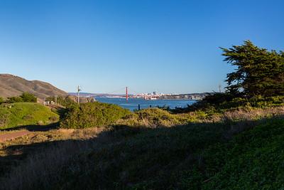 Golden Gate Bridge & Downtown San Francisco. Battery Mendell. Marin Headlands. Golden Gate National Recreation Area, CA, USA