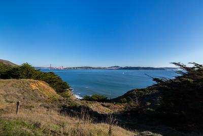 Golden Gate Bridge & Downtown San Francisco (left), Baker Beach & Sutro Tower (center), and Ocean Beach (right). Near Bonita Lighthouse Parking. Marin Headlands. Golden Gate National Recreation Area, CA, USA