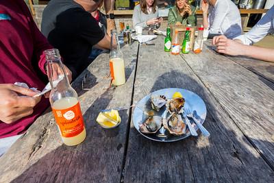 BBQ Oysters. Hog Island Oyster Farm - Marshall, CA, USA