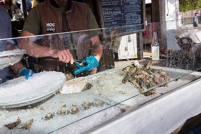 Oyster Shucking. Hog Island Oyster Farm - Marshall, CA, USA