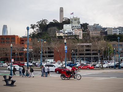 Coit Tower, The Embarcadero, Salesforce Tower (left). Pier 39. San Francisco, CA USA
