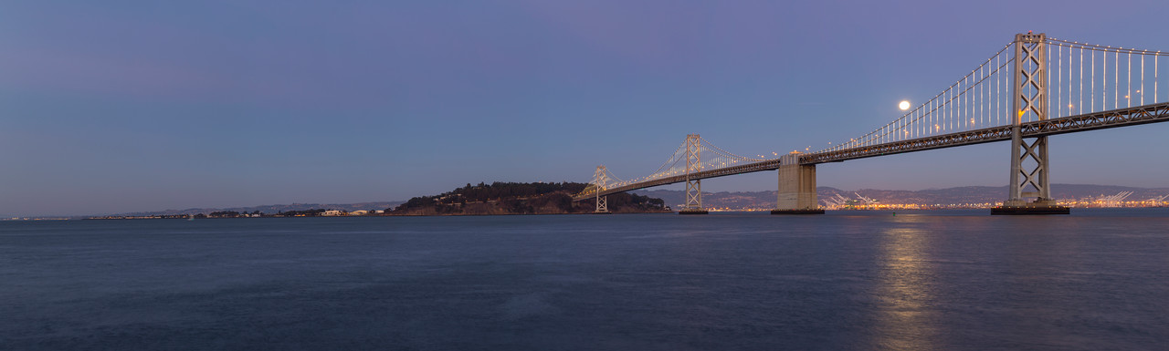 Panorama. Moon Rise. Bay Bridge and Treasure Island. Pier 14 - San Francisco, CA, USA