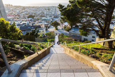 Sunset. 16th Avenue Tiled Steps. San Francisco, CA, USA