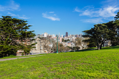 View towards Downtown San Francisco. Alamo Square  - San Francisco, CA, USA