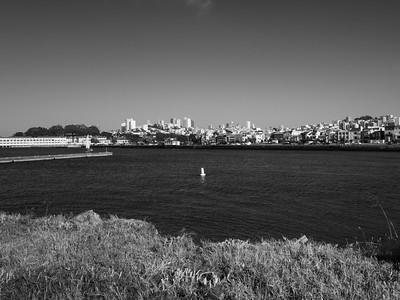 Fort Mason (left) & Downtown San Francisco. Near The Wave Organ. San Francisco, CA, USA