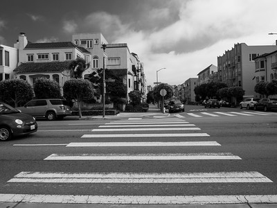 Intersection of Divisadero Street and Marina Blvd. San Francisco Bay Trail. San Francisco, CA, USA