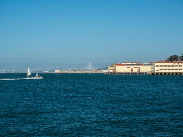 Emeryville (left), Bay Bridge (center), and Fort Mason (right). Near The Wave Organ. San Francisco, CA, USA