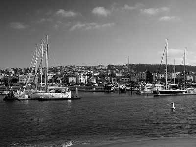 San Francisco Marina Yacht Harbor & Sutro Tower (in the distance). Near The Wave Organ. San Francisco, CA, USA