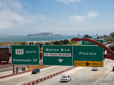 US-101 & Alcatraz Island. Lincoln Blvd. San Francisco, CA, USA