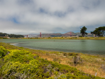 Golden Gate Bridge & Crissy Field Marsh. Mason Street. San Francisco, CA, USA