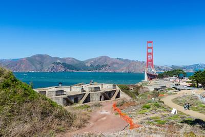 Battery Boutelle & Golden Gate Bridge. San Francisco, CA, USA