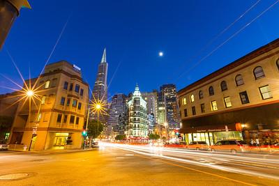 Columbus Tower and Transamerica Pyramid (Left). San Francisco, CA, USA