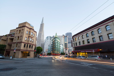 Columbus Tower and Transamerica Pyramid (Left). San Francisco, CA, USA