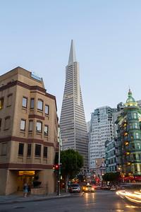Columbus Tower (Right) and Transamerica Pyramid. San Francisco, CA, USA