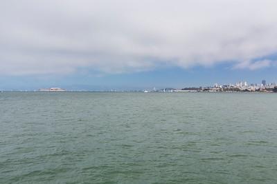 Alcatraz Island (Left), San Francisco (Right). Torpedo Wharf - San Francisco, CA, USA