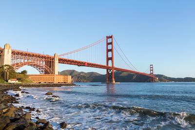 Sunrise. Golden Gate Bridge. Near Torpedo Wharf - San Francisco, CA, USA