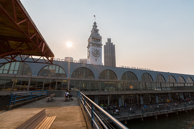 Smoke from fires burning in the San Francisco North Bay.  San Francisco Ferry Building. Ferry Terminal Public Viewing Area. San Francisco, CA, USA