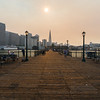 Smoke from fires burning in the San Francisco North Bay.<br /> <br /> Transamerica Pyramid & The Embarcadero. Pier 7. San Francisco, CA, USA