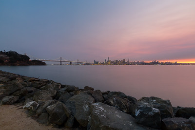 Smoke from fires burning in the San Francisco North Bay.  Dusk. San Francisco & Golden Gate Bridge. Treasure Island, CA, USA
