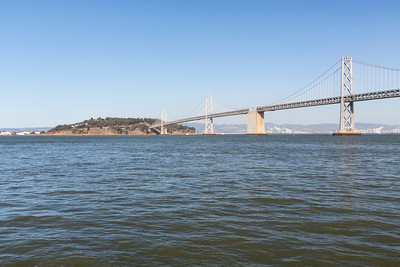 Treasure Island and Bay Bridge. Pier 14 - San Francisco, CA, USA