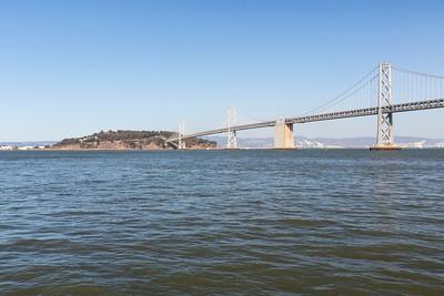 Treasure Island and Bay Bridge. Pier 14 - San Francisco, CA, USA
