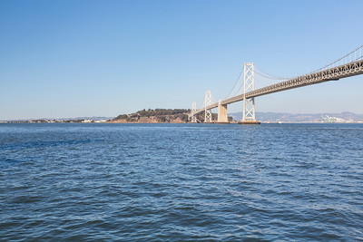 Treasure Island and Bay Bridge. Rincon Park - San Francisco, CA, USA