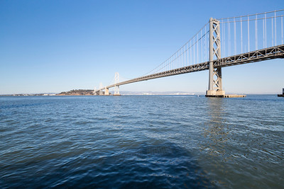 Treasure Island and Bay Bridge. Rincon Park - San Francisco, CA, USA