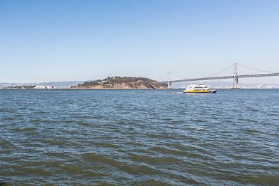 Treasure Island and Bay Bridge. Pier 7 - San Francisco, CA, USA